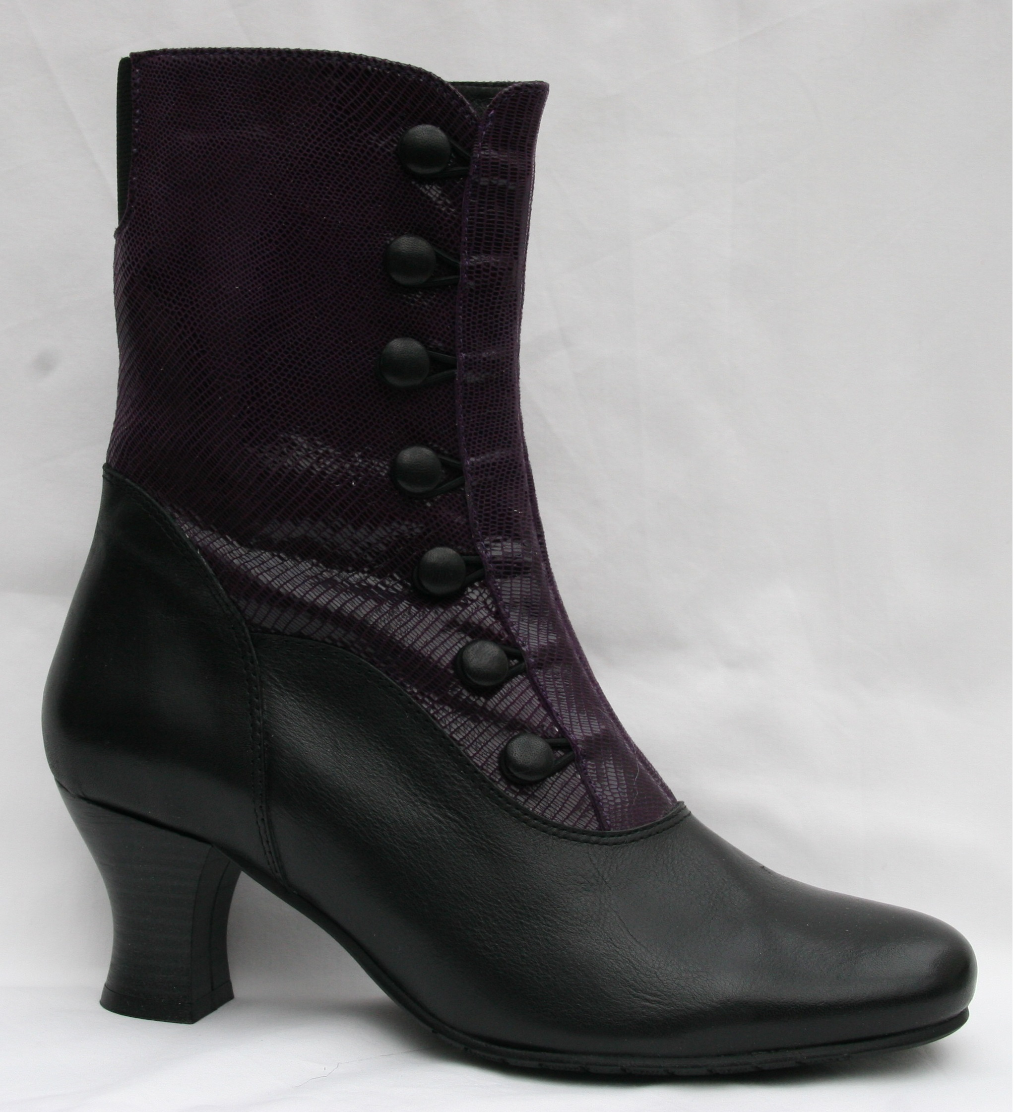 Prudence Black Leather/Dark Purple Teju Leather