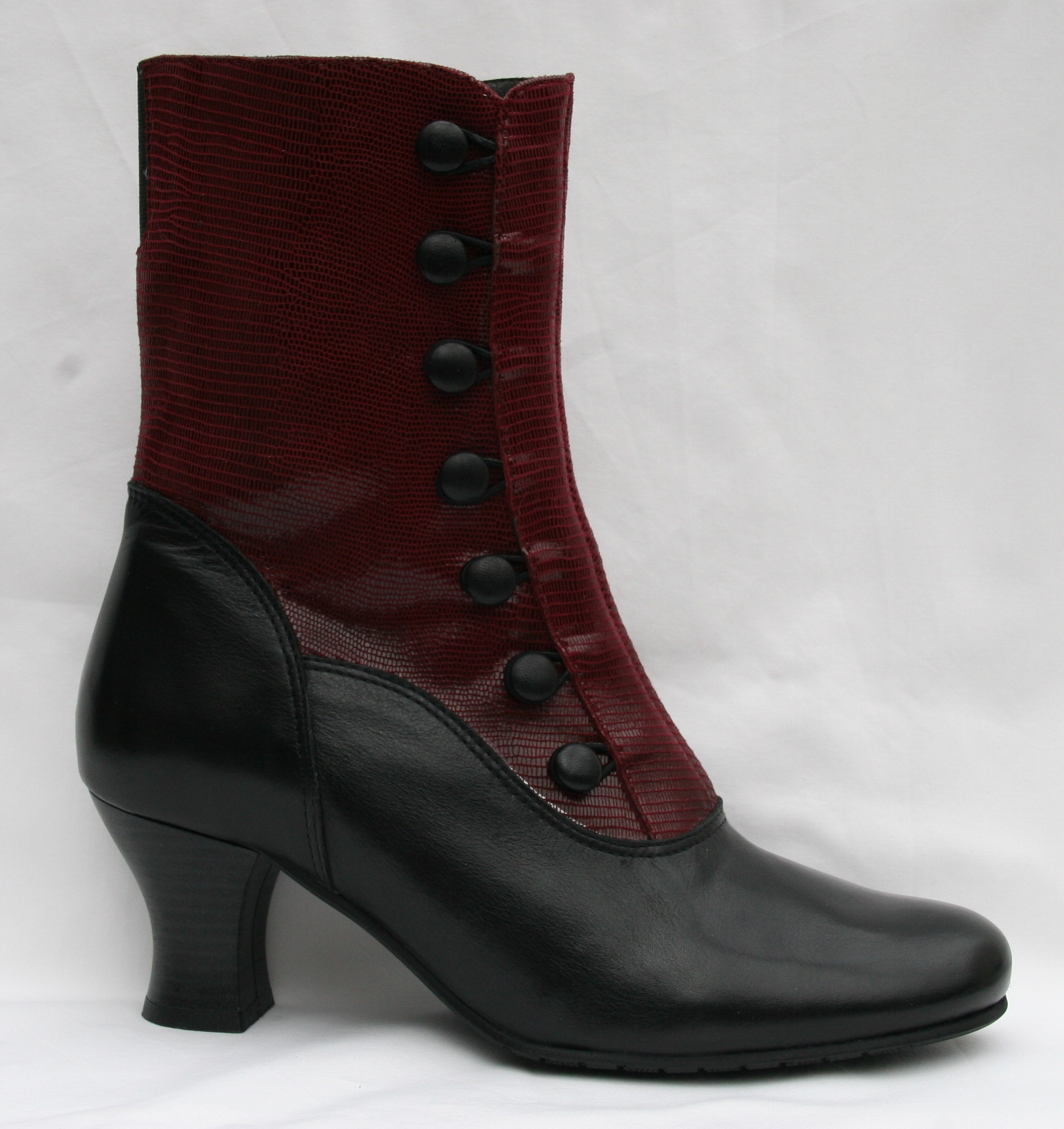 Prudence Black Leather/Dark Red Teju Leather